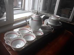 Kézzel festett, art deco csokoládés/kávés/teás porcelán készlet tálcával süteményes tányérokkal