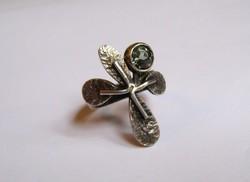 Zöld peridot köves iparművész ezüst gyűrű