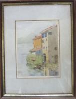 Tóparti házak - akvarell keretben