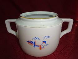 Zsolnay porcelán cukortartó, antik, pajzspecsétes, tető nélküli.