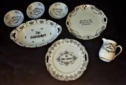 Ezüstözött német ezüst lakodalmas kínáló készlet, régi, de szép állapotú porcelán.