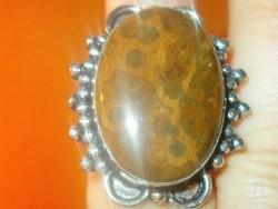 Tigrisszem ásvány köves Tibeti ezüst Uniszex Gyűrű 7.5-es