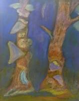 Kurencs Julianna: Mesél az erdő (pasztell-karton) 60 x 49 cm