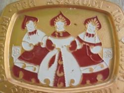 Festett orosz fém tálka