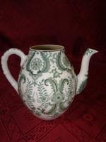 Japán porcelán, zöld mintás kávékiöntő tető nélkül, magassága 12 cm.