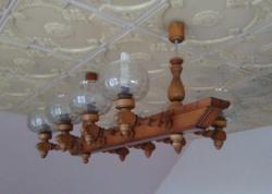 8  karú faragott fa koloniál  stílusú, egyedi mestermunka , mennyezeti lámpa, csillár