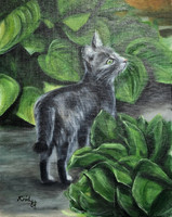 Cecília - olajfestmény vásznon - cica