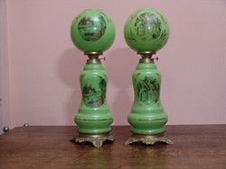 Antik porcelán petróleum lámpa pár