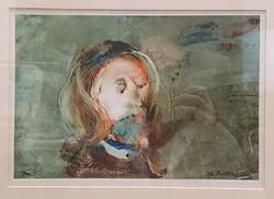 Eredeti, szignózott Ruttka Ferenc festmény, férfi portré