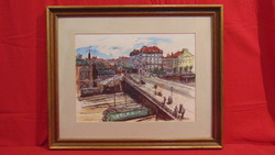 Városkép az 1900-es évek elejéből - Szép, színezett városkép szépen keretezve, HORVATH szignóval