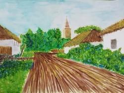 Varga Ádám - Bogács, Ady Endre utca (kicsit átalakítva) - akvarell - 50 x 70