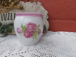 Rózsás Zsolnay csupor , bögre, nosztalgia darab, paraszti dekoráció