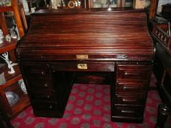 Eredeti antik Lingel Károly féle felül redőnyös, szecessziós íróasztal / szekreter 1920 környékéről