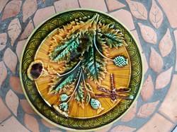 Szecesszió keràmia majolika domború színes festett szitakötő viràgok, dekoráció.Schütz, Znaim,RDZ,