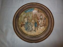 Antik rokokó jelenetes kerámia fali tányér