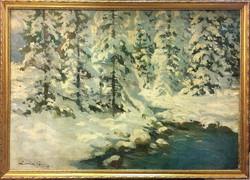 Zórád Géza (1896-1959) : Behavazott erdö,kerettel:61 x 85 cm,olaj-vászon