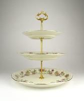 0Y513 Zsolnay porcelán három emeletes kínáló 34 cm