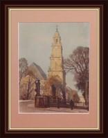 Templom és tere, 1912 - Nagyon igényesen elkészített utcakép külföldi művésztől