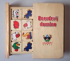 Régi Clown Games állatfigurás fa domino könyv formájú dobozban