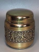 Erhard & Son jelzett puttó mintás  aranyozott réz cigaretta tartó kínáló doboz