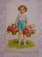 Régi képeslap 1940 rózsás levelezőlap