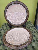 Shütz Cilli fajansz óriás fali tányér pár