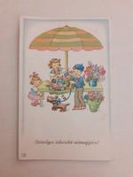 Régi képeslap 1942 gyerekek virágárus levelezőlap