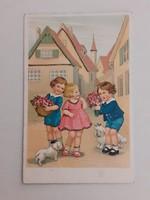 Régi képeslap gyerekek levelezőlap