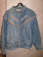 E13 Farmer Luxus kabát végig bélelt + hímzéses rátét+ alul öv+ zsebek 38-40-ES