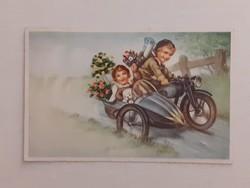 Régi képeslap 1942 gyerekek oldalkocsis motorral levelezőlap