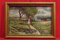 'Sétáló pár a nyári napsütésben'-Kellemes életkép ábrázolás hozzáillő, régi keretben /50-60-as évek/