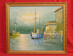 'Halászhajók kikötve' - Szépen megfestett tengerparti látkép ábrázolás a 70-80-as évekből