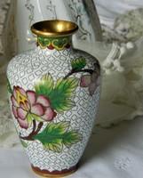 Gyönyörű színvilágú rekeszzománc váza, Cloissoné