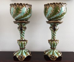 Julius Dressler kaspó pár posztamensen, Art Nouveau