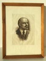 Lenin rézkarc eredeti régi