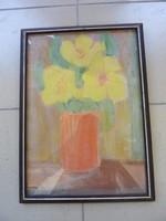 Csendélet sárga virágokkal, pasztell-karton, jelzéssel