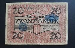 Németország , Frankfurt 20 Márka 1918, Vg.