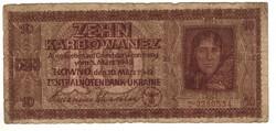 10 karbowanez 1942 Német megszállás Ukrajna 2.