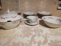 Eladó antik porcelán Kahla német viragos 6 személyes étkészlet vitrin állapot!