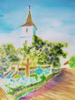 Varga Ádám - Templom az út mentén - 2021 - akvarell - 30x40