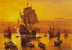 Bánfalvy Ákos: Hajók esti fényben  HATALMAS!