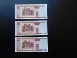 3 darab 50 rubel 2000 Sorszámkövető Hajtatlan bankjegyek 02
