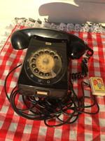Régi Tárcsás Magyar Posta bakelit telefon - fekete színben