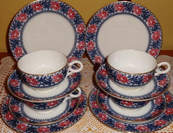 Meseszép antik angol teás  reggeliző készlet 6 szett.