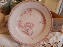 Meseszép, szegfű mintás LUNEVILLE antik francia tányér 24,5 cm