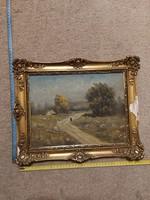 Tájkép festmény, eredeti keretezésében