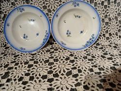 Gránit mély és fali tányérok apró kék virágos dekor és csík