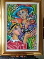 JÓZSA JÁNOS  festőművész Lányok madarakkal