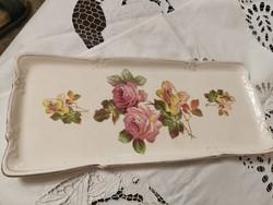 Antik rózsás fajansz tálca