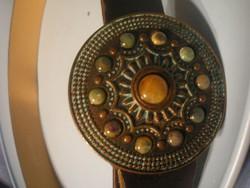 N10 Bronz + ékkövek díszes Manuel Fantoni collection sorszámozott szíj 110 cm a csat 8.5 cm nagy